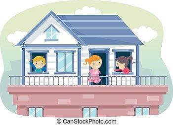 stickman, bambini, tetto, illustrazione, casa
