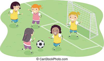 stickman, calcio, ragazze