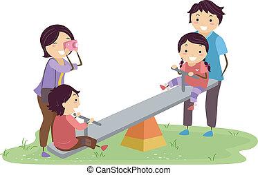stickman, campo di gioco, famiglia