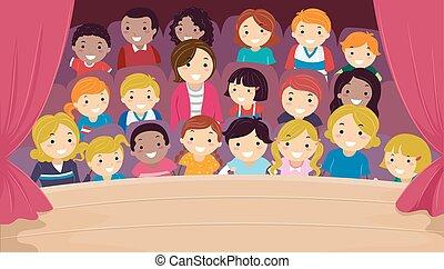 stickman, famiglia, teatro, bambini, illustrazione, pubblico
