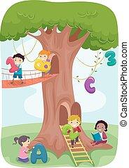 stickman, gioco, bambini, albero