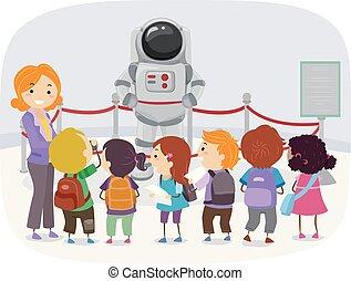 stickman, museo, astronauta, bambini, illustrazione