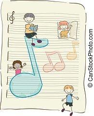 stickman, note, bambini, musica, illustrazione