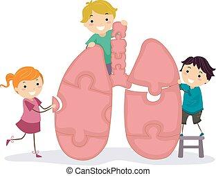stickman, puzzle, bambini, polmone, illustrazione