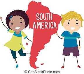 stickman, sud america, bambini, illustrazione, continente