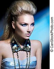 stile, acconciatura, ragazza, moda, portrait., modello, sedia dondolo