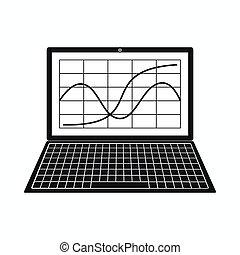 stile, affari, semplice, grafico, laptop, icona