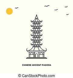 stile, antico, naturale, cinese, viaggiare, illustrazione, pagoda, fondo, mondo, monument., linea