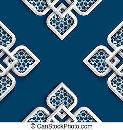 stile, arabo, 3d, ornamento, bianco