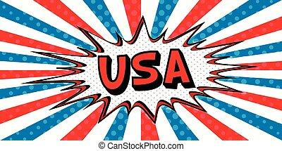 stile, arte, stati uniti, bubble., pop, bandiera, discorso, esplosione, comico, bandiera, cartone animato