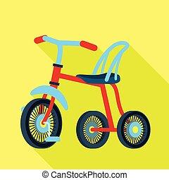 stile, bambino, icona, triciclo, appartamento