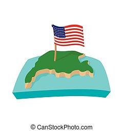 stile, bandiera usa, cartone animato, mappa, icona