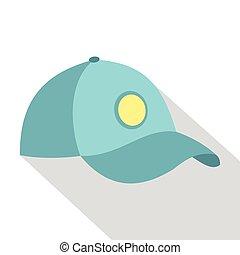 stile, baseball, icona, berretto, blu, appartamento