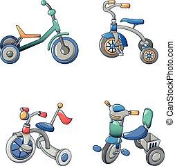 stile, bicicletta, triciclo, set, icone, bicicletta, cartone animato