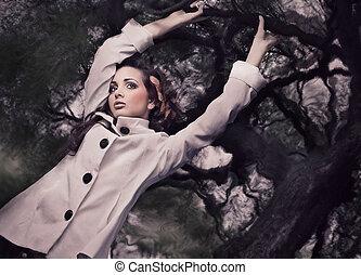 stile, brunetta, arte, ramo, foto, presa a terra, splendido, multa