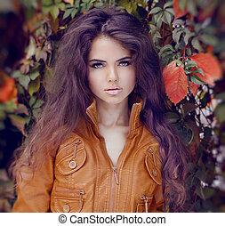 stile capelli, donna, makeup., autunno, girl., moda, style.