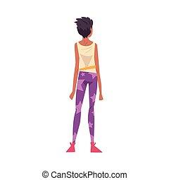 stile, cartone animato, qualcosa, dietro, osservato, il portare, casuale, dall'aspetto, vettore, vista, ragazza, adolescente, indietro, illustrazione, vestiti