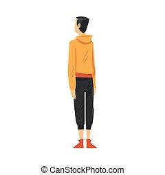 stile, cartone animato, qualcosa, dietro, osservato, ragazzo, il portare, casuale, dall'aspetto, vista, vettore, adolescente, indietro, illustrazione, vestiti
