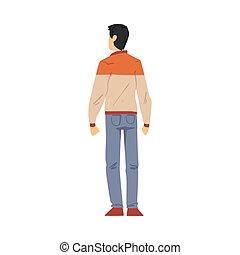 stile, cartone animato, qualcosa, giovane, dietro, osservato, il portare, casuale, dall'aspetto, uomo, tipo, vista, vettore, indietro, illustrazione, vestiti