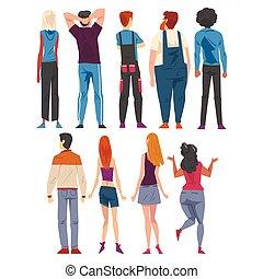 stile, cartone animato, qualcosa, giovane, dietro, osservato, persone, il portare, casuale, ragazze, dall'aspetto, tipi, vestiti, vista, vettore, indietro, illustrazione, set