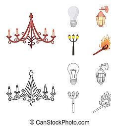 stile, casato, icone, simbolo, fonte, cartone animato, web., strada, bitmap, illustrazione, contorno, lampada, set, condotto, collezione, luce, luce, match.