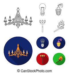 stile, casato, icone, simbolo, fonte, web., bitmap, strada, illustrazione, lampada, set, condotto, collezione, luce, luce, appartamento, match., contorno