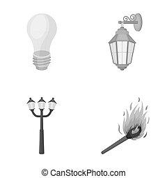 stile, casato, icone, simbolo, fonte, web., bitmap, strada, illustrazione, lampada, set, condotto, collezione, luce, luce, raster, match., monocromatico