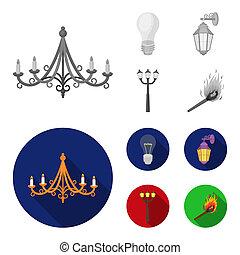 stile, casato, icone, simbolo, fonte, web., bitmap, strada, monocromatico, illustrazione, lampada, set, condotto, collezione, luce, luce, appartamento, match.