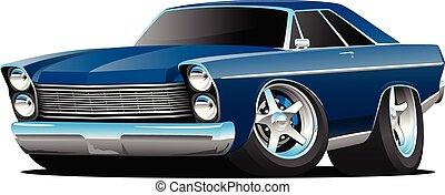 stile, classico, grande, americano, illustrazione, anni sessanta, vettore, automobile, muscolo, cartone animato