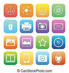 stile, colorito, icone, mobile, set., telefono, vettore