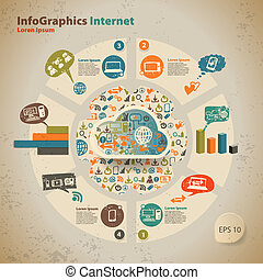 stile, computer, vendemmia, infographic, sagoma, grafica, tecnologia, nuvola