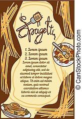 stile, concetto, bandiera, mano, disegnato, spaghetti, italiano