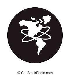 stile, continente, icona, mappa, blocco, americano