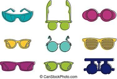 stile, contorno, set, colorare, occhiali, icona