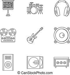 stile, contorno, set, roba, musica, icona