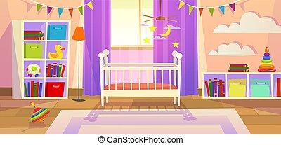 stile di vita, lettino, famiglia, room., immagine, camera letto, bambini, bambino neonato, vivaio, giocattoli, interno, playroom, mobilia, cartone animato, capretto