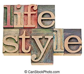 stile di vita, tipo, letterpress