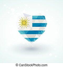 stile, diamante, heart., bandiera uruguay, triangulation, vetro, forma