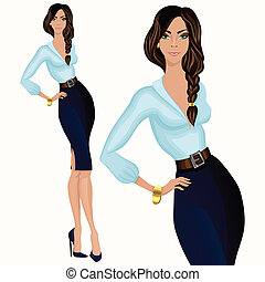 stile, donna, affari casuali, attraente