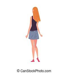 stile, donna, cartone animato, qualcosa, giovane, dietro, osservato, il portare, corto, dall'aspetto, vettore, serbatoio, vista, ragazza, gonna, indietro, illustrazione, cima