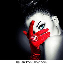 stile, donna, il portare, guanti, misterioso, vendemmia, rosso, fascino
