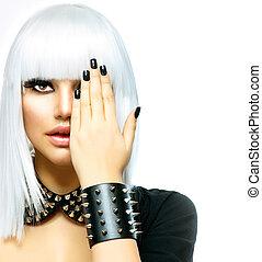 stile, donna, moda, bellezza, girl., isolato, punk, bianco