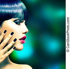 stile, donna, moda, portrait., voga, modello, profilo