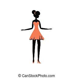 stile, donna, silhouette, retro