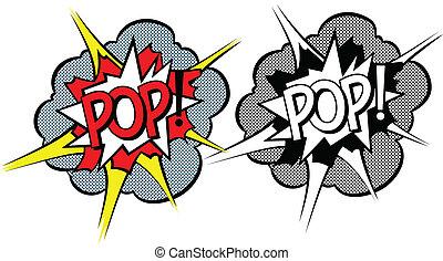 stile, esplosione, cartone animato, pop-art