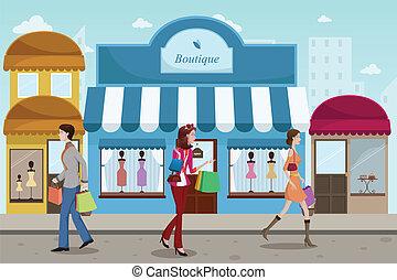 stile, esterno, shopping, persone, boutique, francese, centro commerciale
