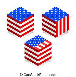 stile, flag., immagine, isometrico, illustrazione, fondo., bandiera, vettore, americano, bianco, icon., 3d