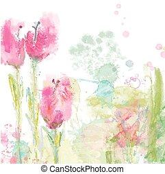 stile, fondo, -, floreale, acquarello, tulips