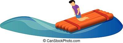 stile, galleggiante, legno, icona, cartone animato, uomo