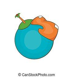 stile, globo, continente, icona americana, cartone animato